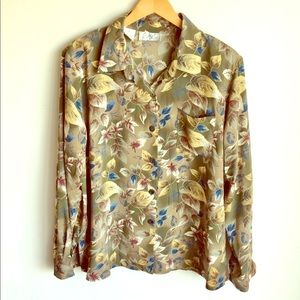 Kathy Che Flower Print Long Sleeve Blouse Sz 16..